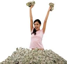 girl surrounded by money